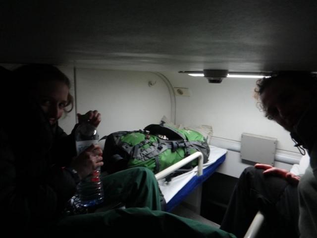 Dans le train couchette pour Xi'an. 60cm d'espace vie!