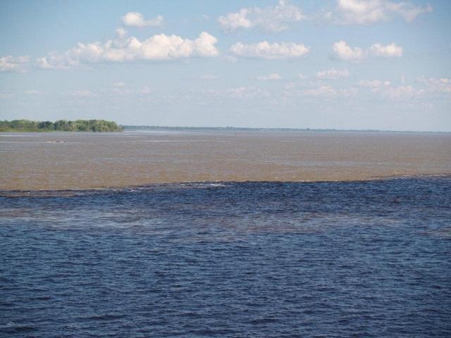 Rencontre des eaux du Rio Negro, de l'autre les eaux marrons de l'amazone