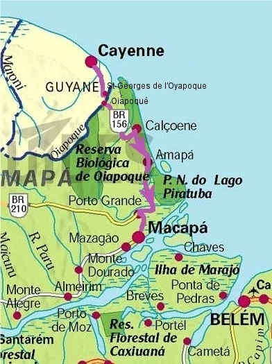 Carte Routiere Nord Bresil.De Cayenne A Macapa Carnet De Route