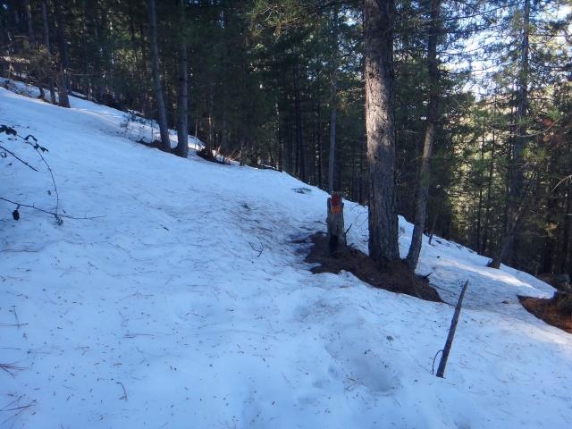 neige sur le sentier vers Tuarelli