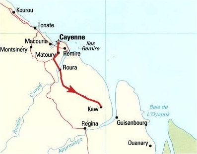 Carte Guyane kaw