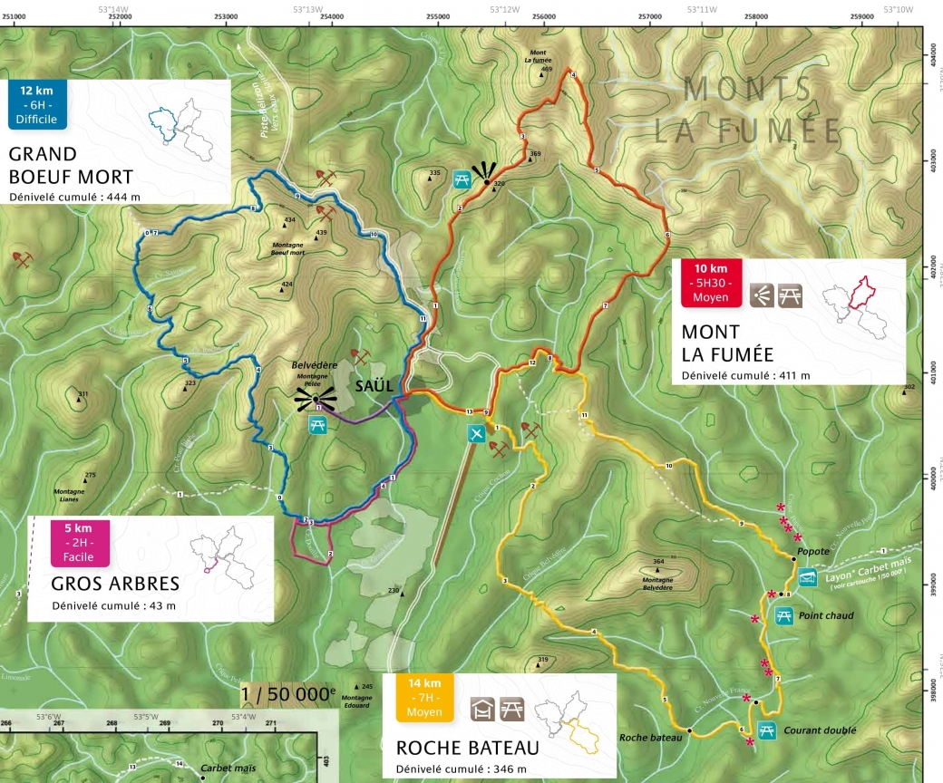 carte des sentiers de randonnées de saül guyane