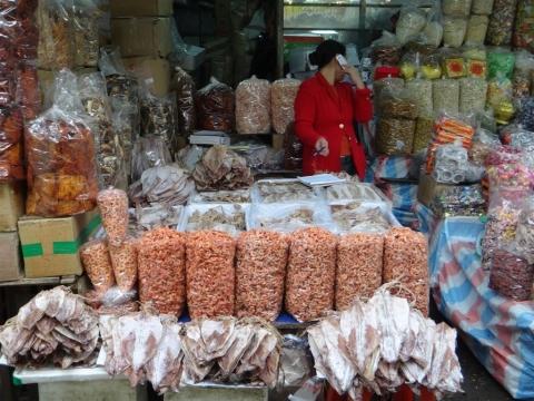 Crevettes et poissons seches