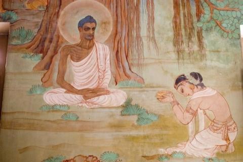 Durant le jeun de Bouddha, celui ci trouva la voie du milieu.
