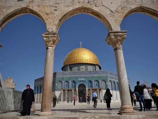 Dôme du Rocher, endroit où, selon la tradition musulmane, Mahomet serait arrivé depuis La Mecque - Jérusalem
