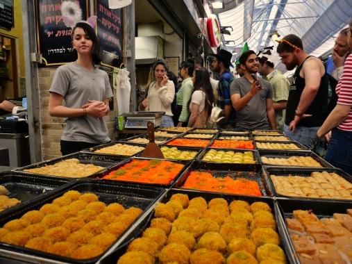 Baklavas au marché à Jérusalem