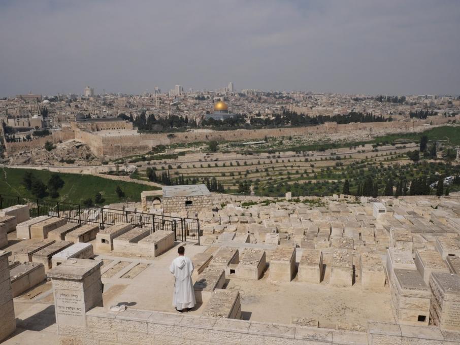 Vue depuis le Mont des Oliviers sur le cimetière Juif et Jérusalem
