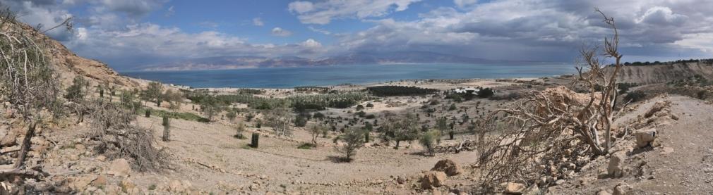 Vue sur la mer morte depuis la reserve d'Ein Gedi