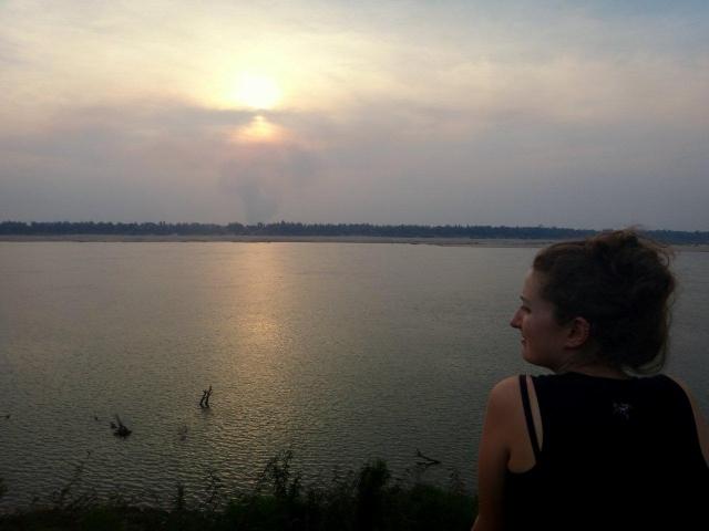 Couche de soleil sur le Mekong