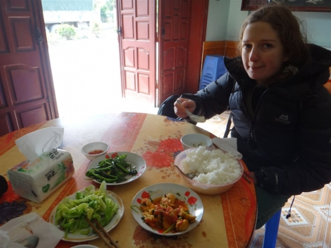 Repas sur le chemin de Cao bang