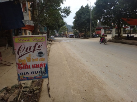 Notre pause café sur la route de Cao bang