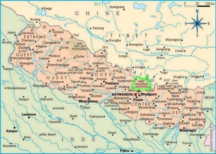 carte Népal langtang